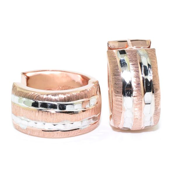 10KT Rose and White Gold 16MM Huggie Earrings. Graziella Fine Jewellery Oshawa, ON