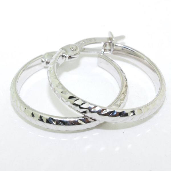 10KT White Gold 15MM Hoop Earrings Graziella Fine Jewellery Oshawa, ON