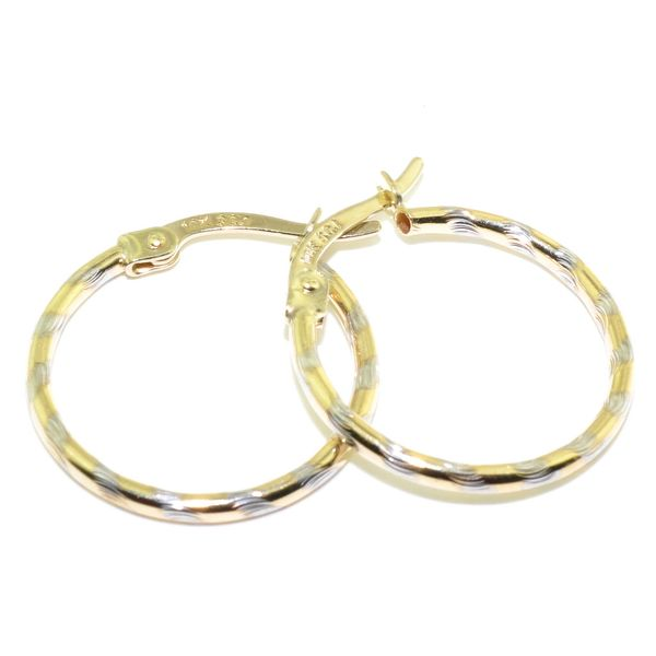 10KT Yellow and White Gold 15MM Hoop Earrings. Graziella Fine Jewellery Oshawa, ON