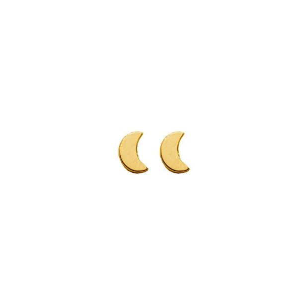 Belle & Jules 10KT Yellow Gold Thick Mini Crescent Moon Stud Earrings. Graziella Fine Jewellery Oshawa, ON