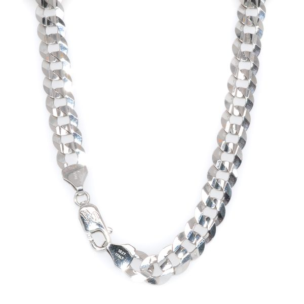 10KT White Gold Flat Curb Chain 24