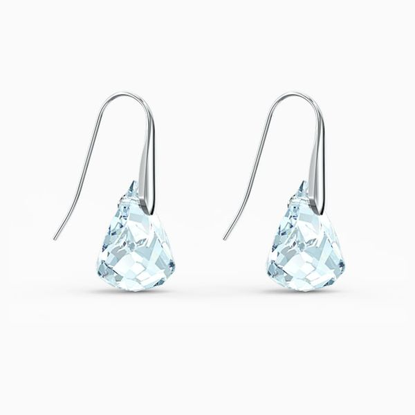 Swarovski Spirit Pierced Aqua Earrings. Image 2 Graziella Fine Jewellery Oshawa, ON