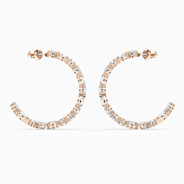 Swarovski Tennis Deluxe Rose Tone Hoop Earrings. Graziella Fine Jewellery Oshawa, ON