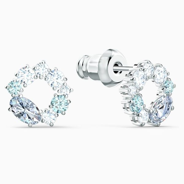Swarovski Attract circle Stud Pierced Earrings. Image 2 Graziella Fine Jewellery Oshawa, ON