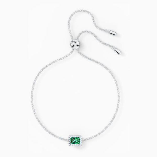 Angelic Rectangular Bracelet, Green, Rhodium plated Image 2 Graziella Fine Jewellery Oshawa, ON