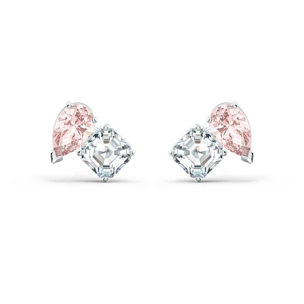Attract Soul Pierced Earrings, Pink, Rhodium plated Graziella Fine Jewellery Oshawa, ON