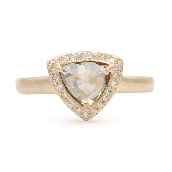 Rose Cut Halo Diamond Ring Hamilton Hill Jewelry Durham, NC