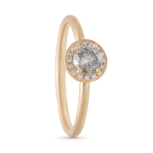 Rose-cut Diamond Halo Ring Hamilton Hill Jewelry Durham, NC