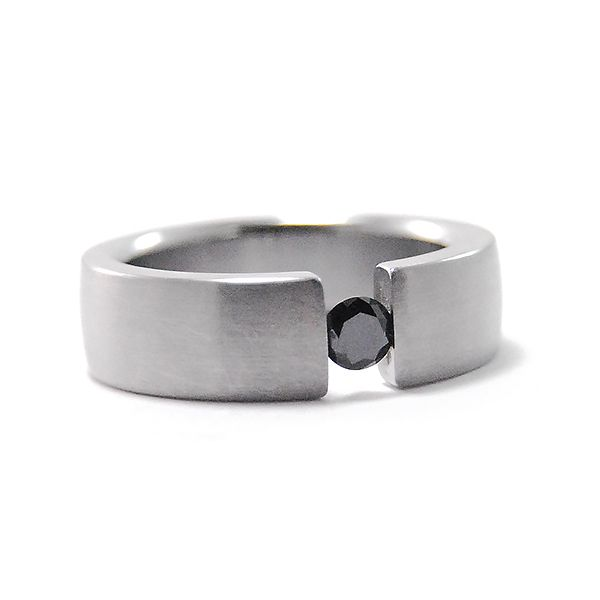 Stainless Steel and Black Diamond Band Hamilton Hill Jewelry Durham, NC