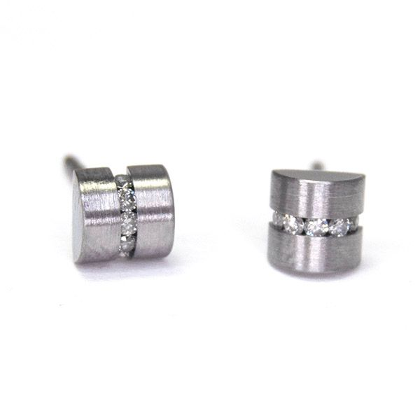 Diamond Cylinder Earrings Hamilton Hill Jewelry Durham, NC
