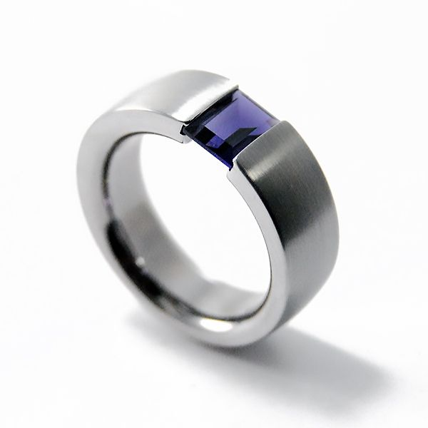 Vertical Tension Ring, Iolite Hamilton Hill Jewelry Durham, NC