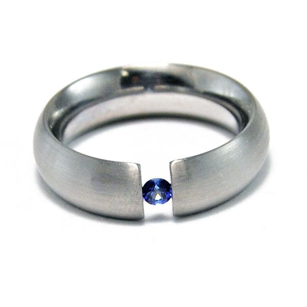 Sapphire Tension Set Ring Hamilton Hill Jewelry Durham, NC
