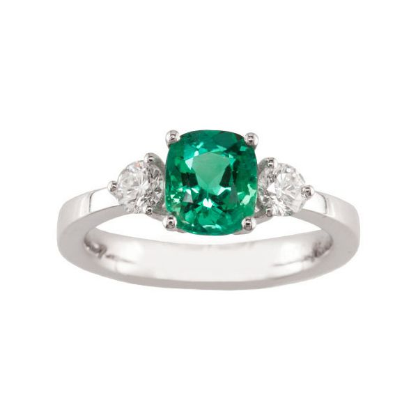 Emerald Three Stone Ring Hamilton Hill Jewelry Durham, NC