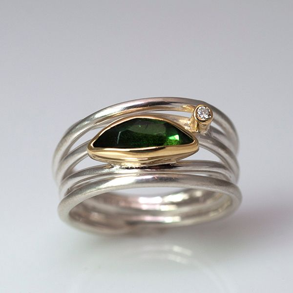 Green Tourmaline and Diamond Ring Hamilton Hill Jewelry Durham, NC