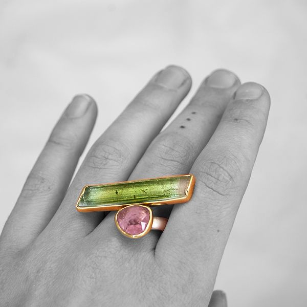 Pink and Green Tourmaline Asymmetrical Bar Ring Image 2 Hamilton Hill Jewelry Durham, NC