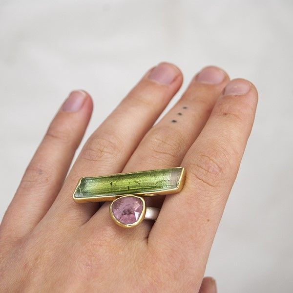 Pink and Green Tourmaline Asymmetrical Bar Ring Image 3 Hamilton Hill Jewelry Durham, NC