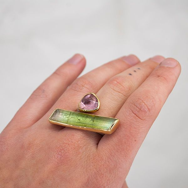 Pink and Green Tourmaline Asymmetrical Bar Ring Image 4 Hamilton Hill Jewelry Durham, NC