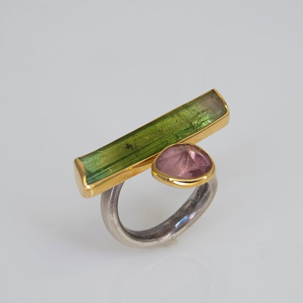 Pink and Green Tourmaline Asymmetrical Bar Ring Hamilton Hill Jewelry Durham, NC