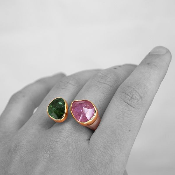 Pink and Green Tourmaline Ring Image 2 Hamilton Hill Jewelry Durham, NC