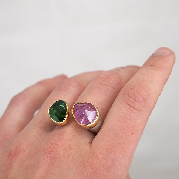 Pink and Green Tourmaline Ring Image 3 Hamilton Hill Jewelry Durham, NC