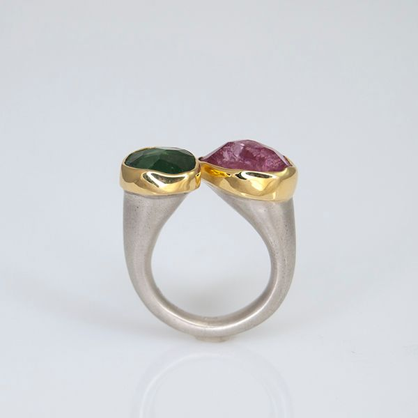 Pink and Green Tourmaline Ring Hamilton Hill Jewelry Durham, NC
