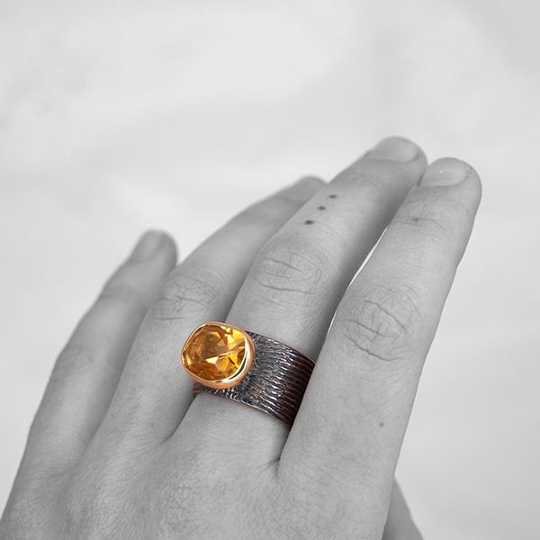 Oxidized Citrine Ring Image 2 Hamilton Hill Jewelry Durham, NC
