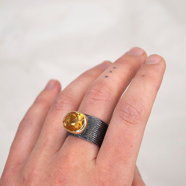 Oxidized Citrine Ring Image 3 Hamilton Hill Jewelry Durham, NC