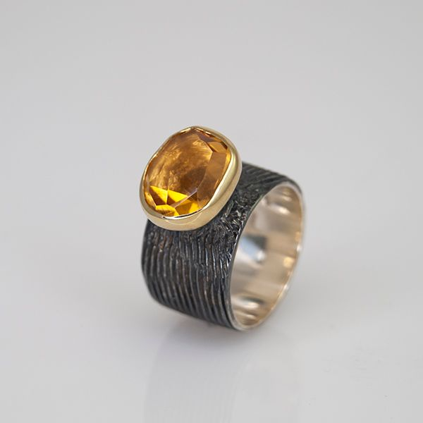 Oxidized Citrine Ring Hamilton Hill Jewelry Durham, NC