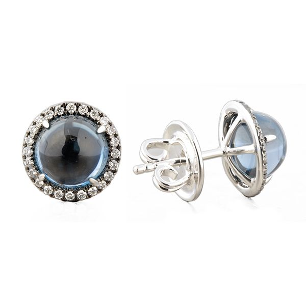 London Blue Topaz Halo Stud Earrings Hamilton Hill Jewelry Durham, NC