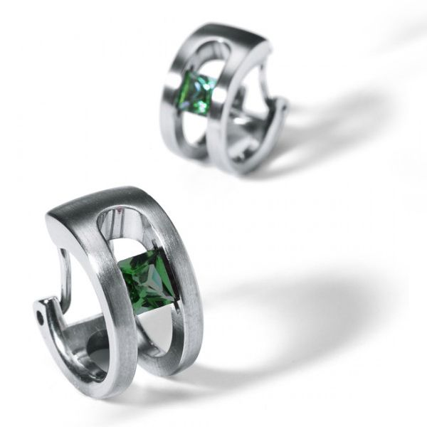 Tension-Set Green Tourmaline Earrings Hamilton Hill Jewelry Durham, NC