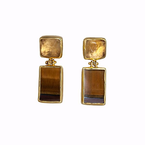Citrine and Tiger's Eye Earrings Hamilton Hill Jewelry Durham, NC