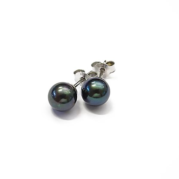 Black Akoya Pearl Stud Earrings Hamilton Hill Jewelry Durham, NC