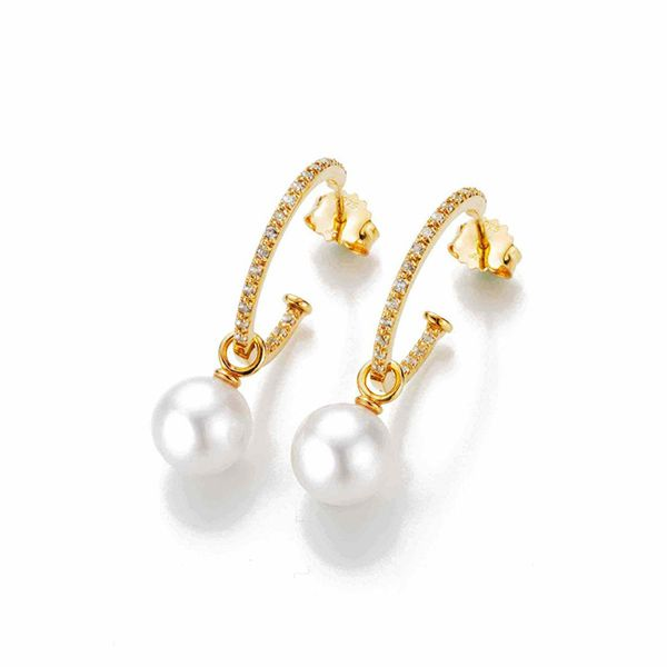 'Dive Bar' Pearl Hoop Earrings Hamilton Hill Jewelry Durham, NC