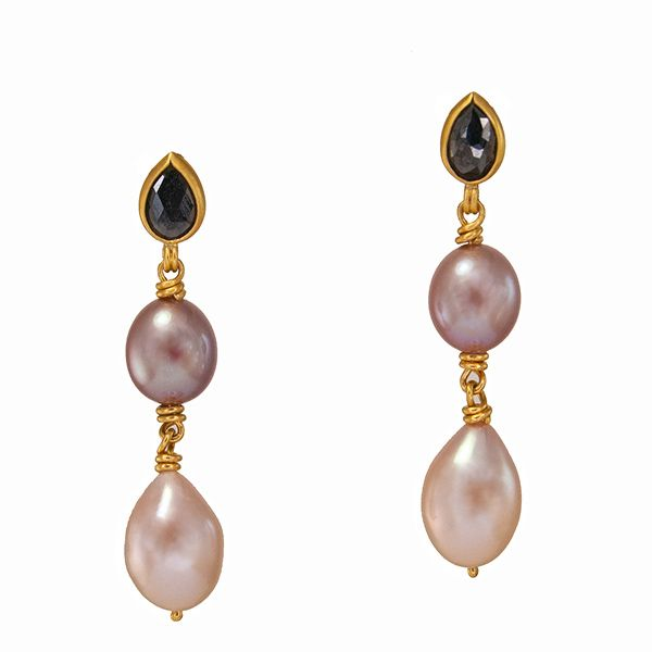 Black Diamond and Pearl Earrings Hamilton Hill Jewelry Durham, NC