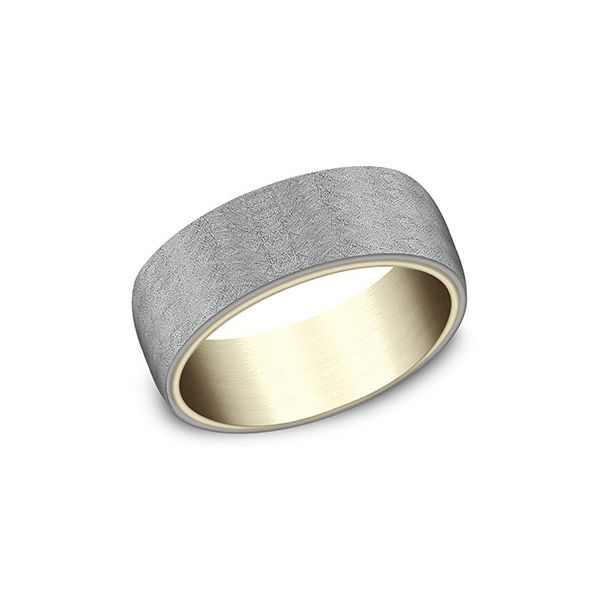 Yellow Gold and Tantalum Band with Brushed Finish Hamilton Hill Jewelry Durham, NC