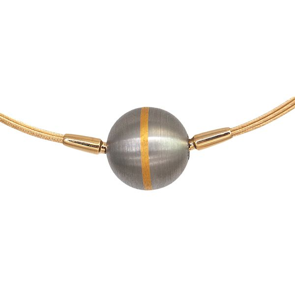 Brushed Steel Ball Vario Clasp with Gold Stripe Hamilton Hill Jewelry Durham, NC
