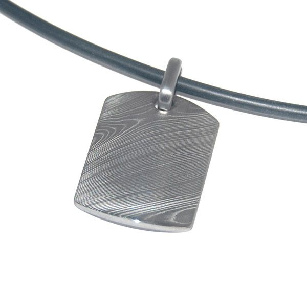 Damascus Steel Shield Pendant Hamilton Hill Jewelry Durham, NC