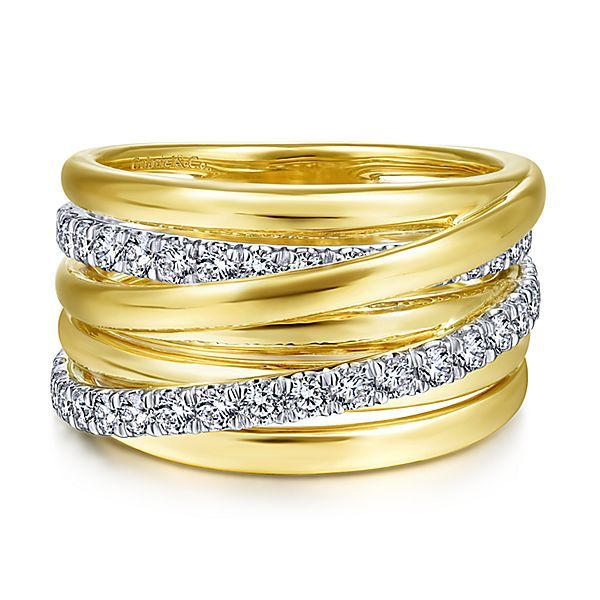 Two tone wide stacking ring with diamonds Hingham Jewelers Hingham, MA