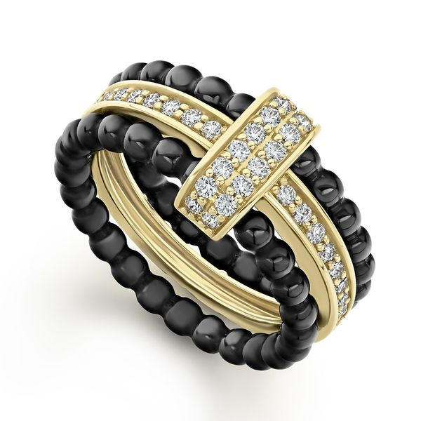 Caviar Gold Diamond Stacking Ring Set Hingham Jewelers Hingham, MA