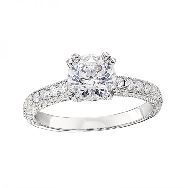 Vintage Style Engagement Ring Settings with Hand Engraving Hingham Jewelers Hingham, MA
