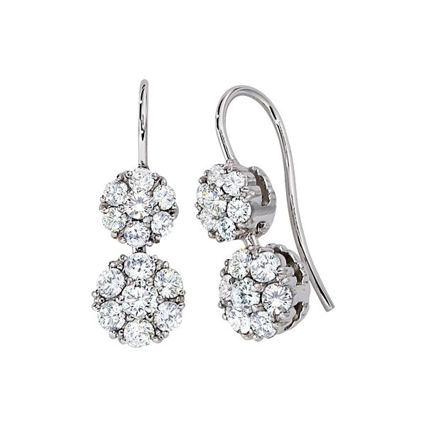 Diamond Cluster Drop Earrings Hingham Jewelers Hingham, MA