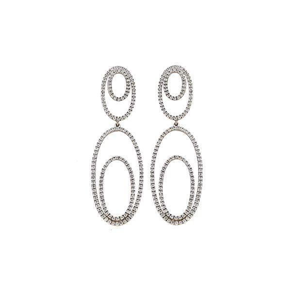 26mm Knot Double Oval Earrings\uff08Ring\uff09  Jewelry Making  Matte Rhodium Plated Brass  925 Sterling Silver Post  2pcs  eso183