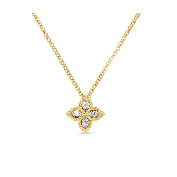 Small Princess Flower Pendant Necklace Hingham Jewelers Hingham, MA