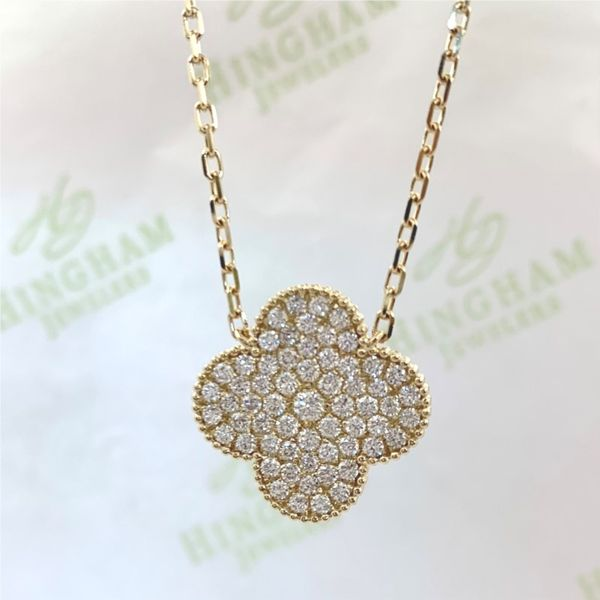Diamond Pave Clover Necklace Hingham Jewelers Hingham, MA