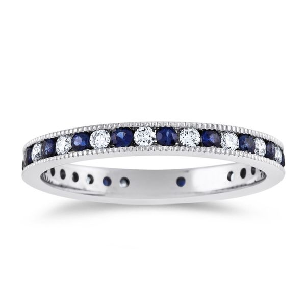 Sapphire and Diamonds Channel Eternity Band Hingham Jewelers Hingham, MA
