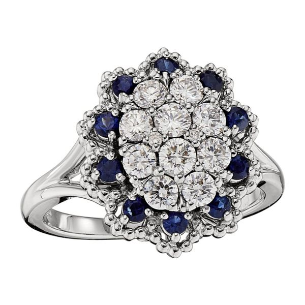 Diamond and Sapphire Cluster Ring Hingham Jewelers Hingham, MA