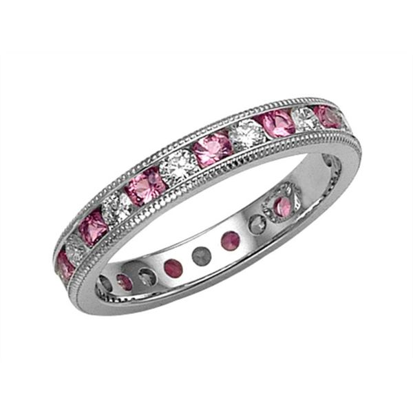 Pink Sapphire and Diamond Eternity Band Hingham Jewelers Hingham, MA
