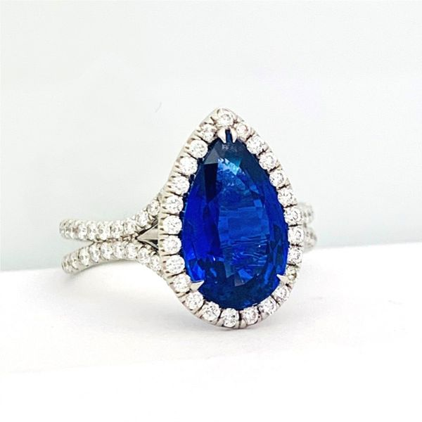 Pear-Shaped Sapphire Halo Ring with Pave Double Shank Hingham Jewelers Hingham, MA