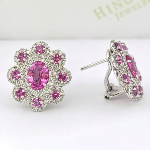 Pink Sapphire and Diamond Cluster Earrings Hingham Jewelers Hingham, MA