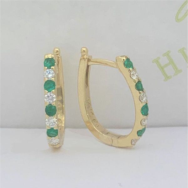 Emerald and Diamond Hoops Hingham Jewelers Hingham, MA